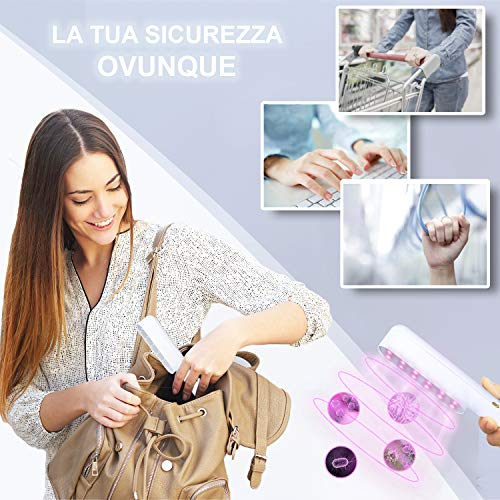 BECUSSITTA® | Lampada UV Germicida | Sterilizzatore UV-C | Igienizzante Disinfettante Antibatterico | Sterilizzazione Disinfezione Superfici Casa | Sanificatore Portatile Da Viaggio