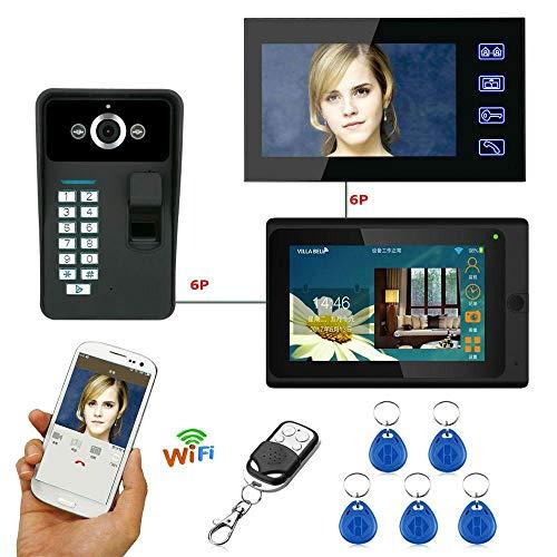 GW Huella Digital Contraseña RFID 7 Pulgadas WiFi Inalámbrico Videoportero Timbre de la Puerta Intercomunicador 1 Cámara 2 Sistema de monitorización APLICACIÓN Control