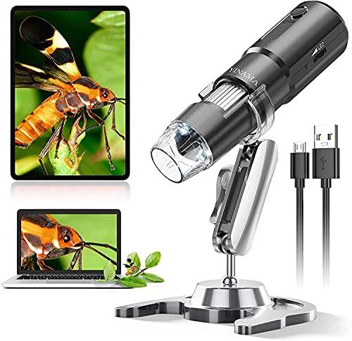 Microscope Numérique sans Fil, YINAMA Caméra de Microscope à Grossissement 50x-1000x, Mini-Microscope Portable avec 8 Lumières LED, Compatible avec Android, iPad PC Mac Windows