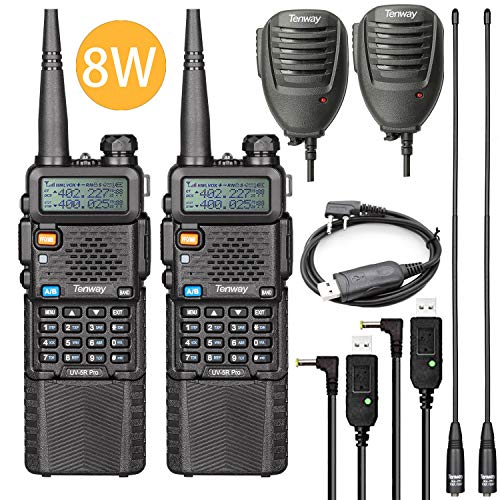 Ham Radio Walkie Talkie UV-5R Pro 8 Watt Dual Band Two Way Radio with 3800mAh Battery and Handheld Speaker Mic and NA-771 Antenna 2Pack and One USB Programming Cable