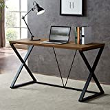 SHOCOKO Rustic Computer Desk, Industrial Wood and Metal X Writing Desk, Writing Table