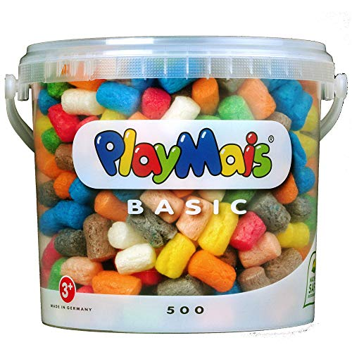PlayMais BASIC 500 Bastelset für Kinder ab 3 Jahren | Basteleimer mit über 500 bunten PlayMais zum Basteln | Natürliches Spielzeug | Fördert Kreativität & Motorik | Geschenk für Mädchen & Jungen