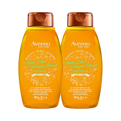 Aveeno Scalp Soothing Apple Cider Vinegar Blend Shampoo & Conditioner Set for Clarify and Shine, Sulfate Free, No Dyes or Parabens, 12 fl. oz