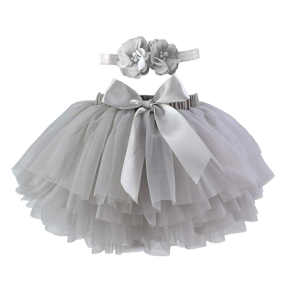 想像力豊かなシェルプロフェッショナルLamdoo幼児女の赤ちゃんチュチュスカート写真の小道具衣装キャンディーカラー多層フリルちょう結びチュールおむつカバー付きヘッドバンド0-3 T - グレー-L