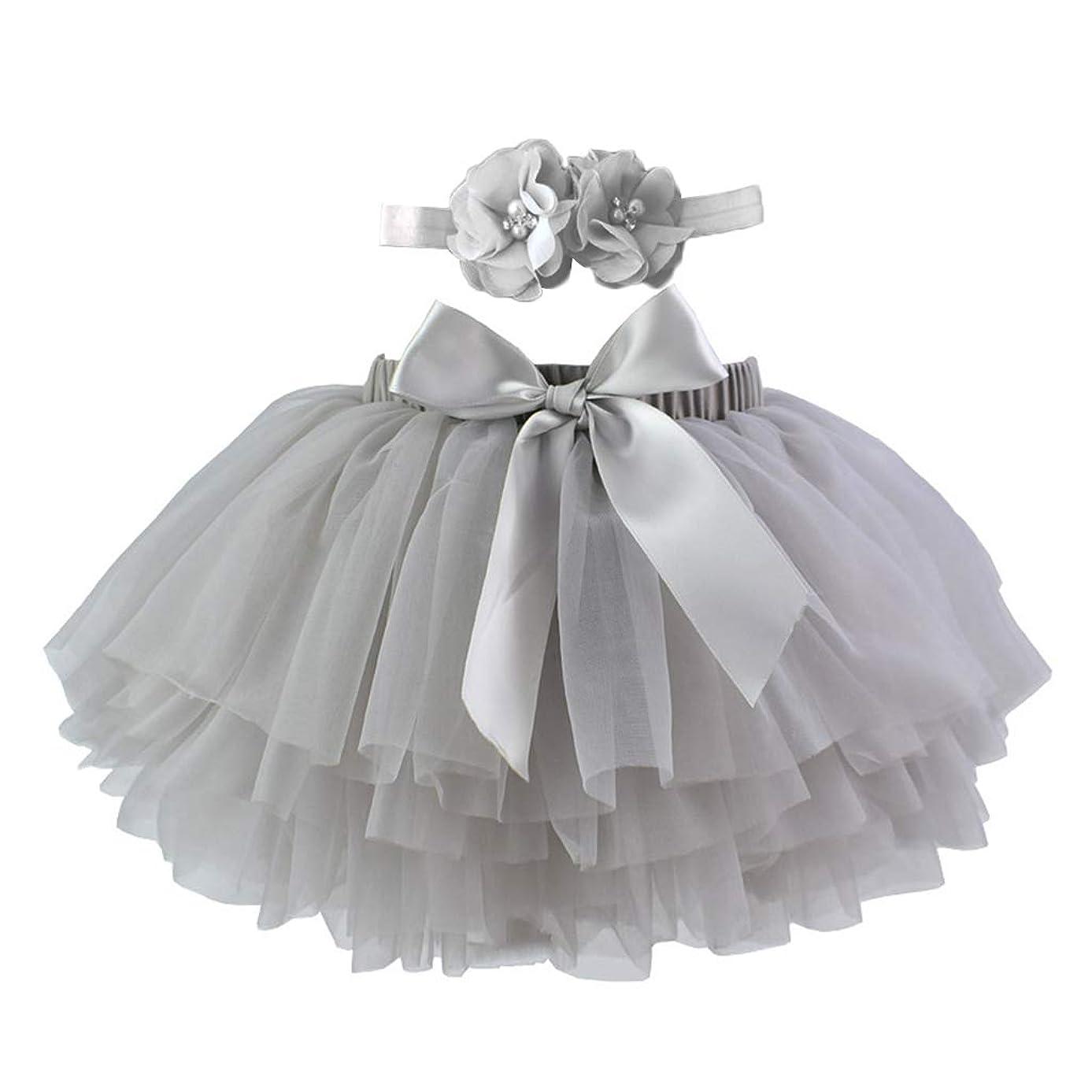 詳細な検索ぼんやりしたLamdoo幼児女の赤ちゃんチュチュスカート写真の小道具衣装キャンディーカラー多層フリルちょう結びチュールおむつカバー付きヘッドバンド0-3 T - グレー-L