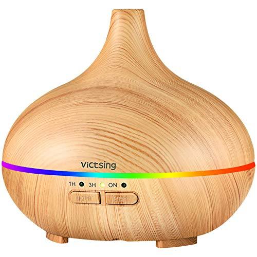 VicTsing 150ml Aroma Diffuser, Ultra Leise Luftbefeuchter Ultraschall für Schlafzimmer Kinderzimmer, BPA-Free Öle Duftlampe Elektrisch mit 7 Farben LED, Auto-Abschaltung - Gelb