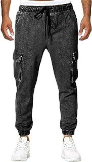 Fueri Mens Denim Trousers Stretch Jeans High Waist Elastic Drawstring Multi Pockets Baggy Harem Work Bottoms