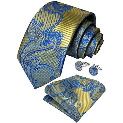 WOXHY Cravate Homme Cravate Ensemble Bleu Or Paisley Soie Mariage Conception Boutons De Manchette Hanky Mode Business Party