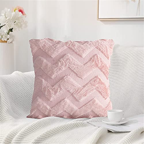Fundas de cojín decorativas de 45 x 45 cm, funda de cojín de un solo color, figura geométrica, tela de felpa de doble cara, monocolor, funda de almohada decorativa muy suave (rosa)
