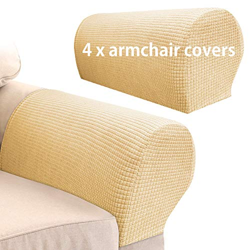 Arm Rest Covers Sofa Set of 4 Stretch Armchair Couch Non-Slip Furniture Protector Slipcovers for Chair Sofa Couches Recliner (Dark Beige)