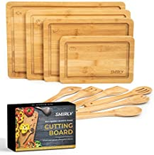 Smirly Bamboo Cutting Board for Kitchen: Set of 4 Butcher Block Wood Cutting Boards with 6 Utensils