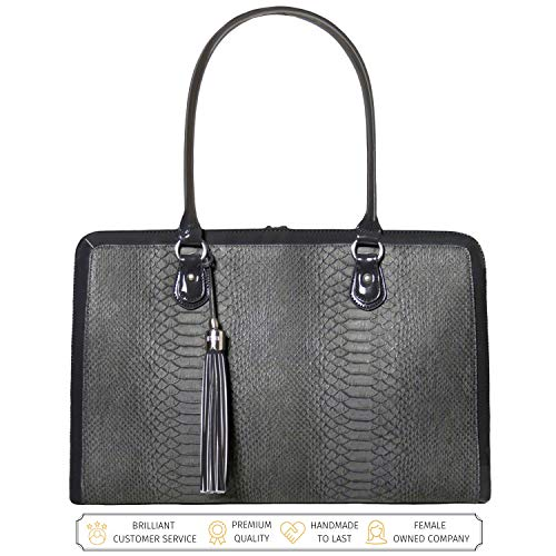 17 INCH LAPTOP BAG - DESIGNED BY A WOMAN - Picture yourself arriving at the office with The Lindsay Laptop Shoulder Work Bag – it's a Stylish and Fashionable Briefcase for Women that's HAND MADE TO LAST from CUSTOM MADE CRUELTY FREE VEGAN LEATHER tha...
