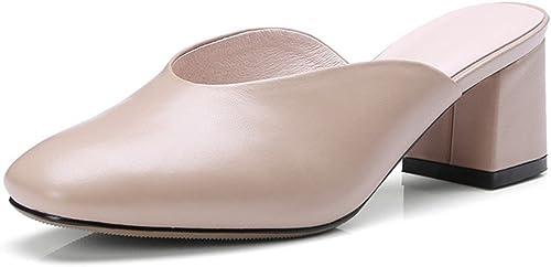 chaussuresDQ épais avec des Chaussons Baotou Cuir Sauvage avec T Cuir Confortable