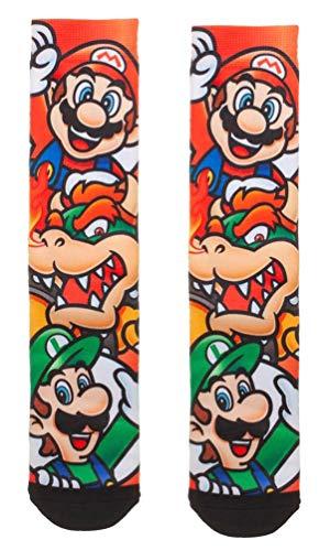 Nintendo Super Mario, Luigi & Bowser Sublimated All Over Print Crew Socks