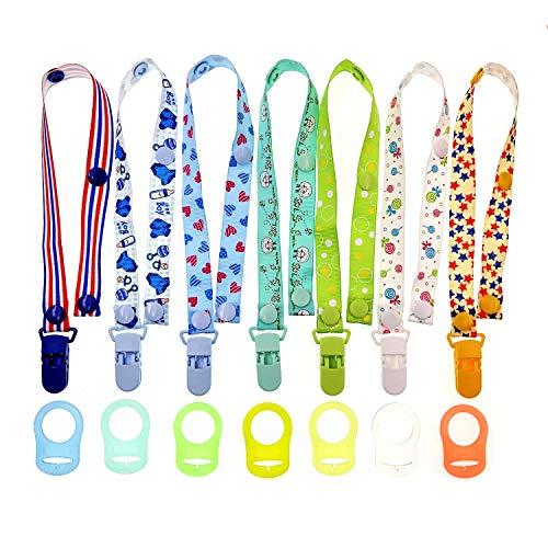 JZK 7 x Multicolor siliconen baby dummy clip ring voor jongens + 7 x fopspeen clip dummy houder riemen voor jongens, geschikt voor babymoeders