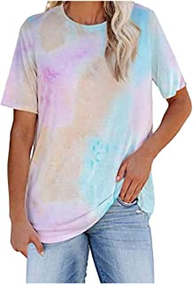 Sengei Womens Plus Size Tie-Dye Camouflage Summer Short Sleeves O-Neck Shirt Blouse Loose Tank Soft Tee