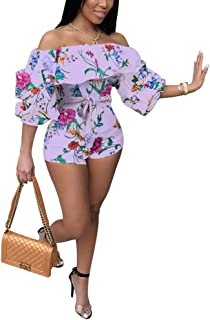 Women Sexy One Piece Romper Outfits Pull Sleeve Floral Print Off Shoulder Short Jumpsuit Pants Set