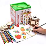 Drawing Book Drawing Board Baby Toddler Doodle Educational Toys Gifts Sets Include 52 Drawing Board Storage Bucket Etc (Multicolor)