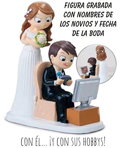 Figura boda gamer PERSONALIZADA novios videoconsola GRABADA figuras frikis tarta playstation