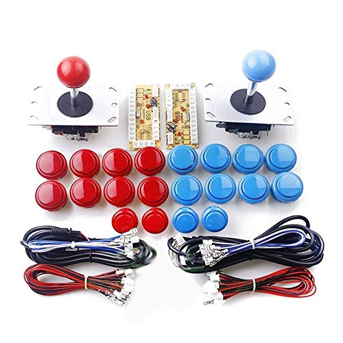 Navigatee Joystick Botones,3D Joysticks Analógicos USB Óvalo Joystick De Estilo DIY Arcade Game Button And Joystick Controller Kit Kits De Bricolaje Piezas Joystick Conjunto Botón 20pcs