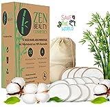 ZEN BEAUTY COSMETICS Waschbare Abschminkpads Wiederverwendbare Wattepads - 14 Abschminktücher aus Bambus & Baumwolle mit Wäschebeutel - Makeup Entferner Pads - Superweich umweltfreundlich, Zero Waste