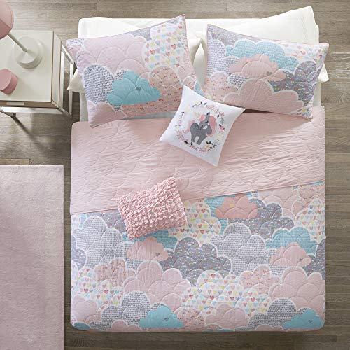 Urban Habitat Kids Cloud Full/Queen Bedding For Girls Quilt Set - Pink , Geometric, Unicorn – 5 Piece Kids Girls Quilts – 100% Cotton Quilt Sets Coverlet