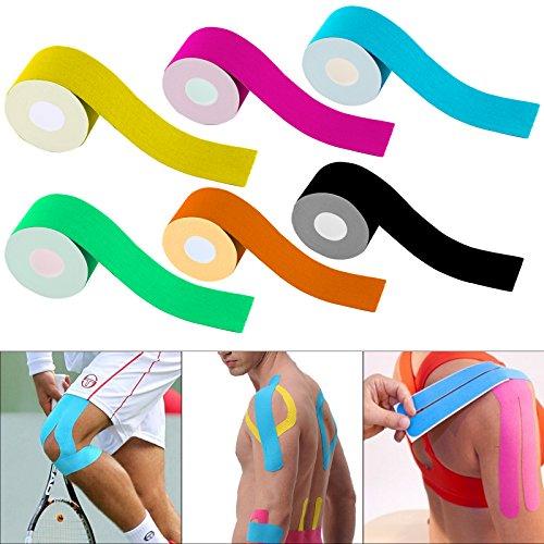 JUEYAN 6 Rollen Kinesiologie Tape 5 X 500 CM Sporttape Wasserdicht Elastisches Kinesiology Sport Tape Tapeverband aus Baumwolle - 3