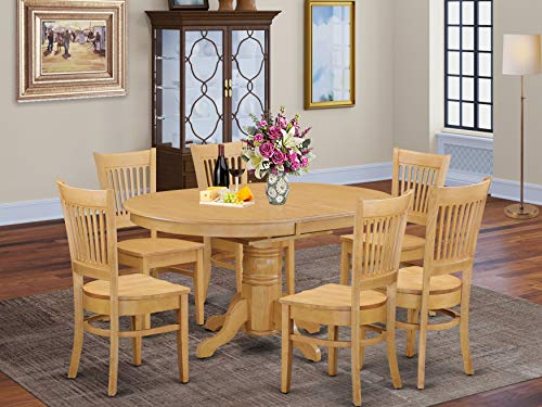 East West Furniture AVVA7-OAK-W dining set 6 Great Wooden dining room chairs - A Beautiful mid-century dining table- Oak Color Wooden Seat Oak Butterfly Leaf kitchen table