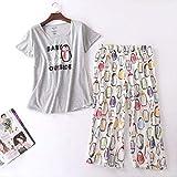 XFLOWR Summer Ladies Cute Cartoon Animal Printed Pyjama Set Comfort Soft Cotton 2pcs Ropa de Dormir Loose Women Casual Wear Homewear Set L Penguin-Grey