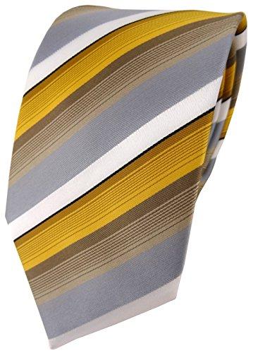 TigerTie Designer Krawatte in gold grau weiss gestreift - Tie Binder