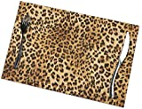 Mats for Dining Table- Leopard Skins Colorful Wild Animal Print Placemats Set of 4, Heat-Resistant Washable Table Place Mats for Kitchen Home, 12 X 18 Inch
