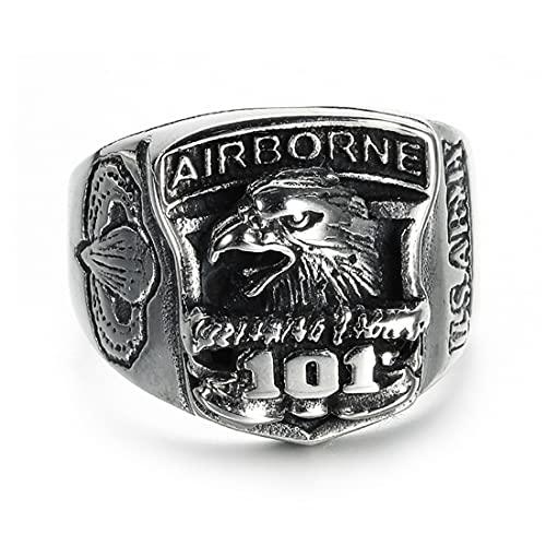 American 101St Airborne Eagle Badge Ring, Joyería Conmemorativa De La Fuerza Aérea De Los Hombres Punk De Acero Inoxidable,9