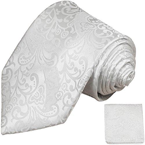Cravate de mariage homme blanc ensemble de cravate 2 Pièces ( longueur 165cm )
