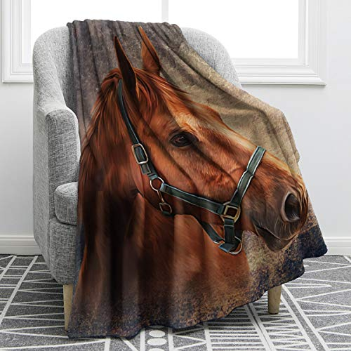 Jekeno Horse Vintage Red Blanket Smooth Soft Print Throw Blanket for Sofa Chair Bed Office Travelling Camping Women Gift 50'x60'