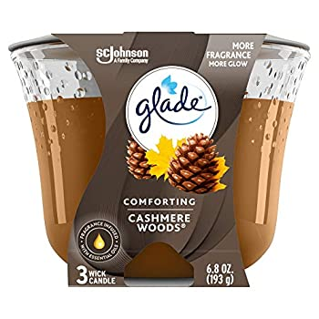 Glade Candle Cashmere Woods Fragrance Candle Infused with Essential Oils Air Freshener Candle 3-Wick Candle 6.8oz