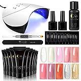 Coscelia Poly Nail Gel 10pcs Prolunga le Unghie 36W Lampada UV/LED Kit Strumento Completo per Manicure Set Ricostruzione Unghie Bling Colori Estensione Gel