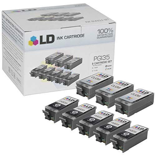 LD Compatible Ink Cartridge Replacement for Canon PGI35 & CLI36 (5 Black, 3 Color, 8-Pack)