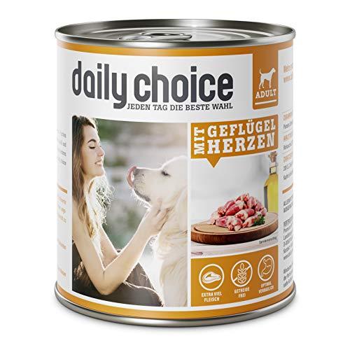 daily choice | 12 x 800 g | Nassfutter für Hunde | getreidefrei | Mit Geflügelherzen | 70% Frischfleisch- und Innereienanteil Optimale Verträglichkeit