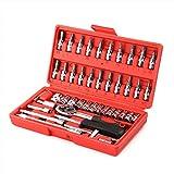 "PAGALY Socket Set, 46 Pieces Spanner Socket Set 1/4"" Car Repair Tool Ratchet"