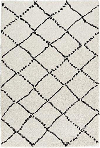 Mint Rugs Hochflor Teppich Hash Creme Schwarz, 120x170 cm