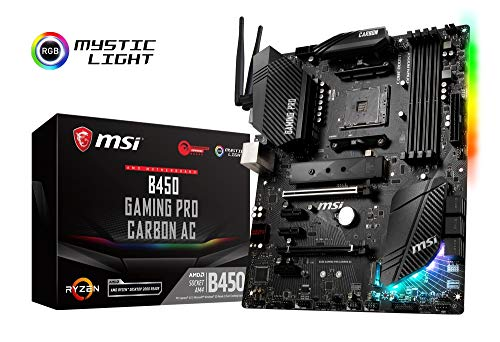 MSI B450 GAMING PRO CARBON AC Motherboard ATX, AM4, DDR4, LAN and 802.11AC WIFI, USB 3.1 Gen2, TYPE-C, M.2, MYSTIC Light Sync, HDMI, Display Port, AMD RYZEN 1st, 2nd and 3rd Gen