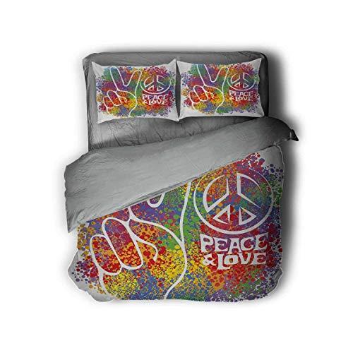 Luoiaax 70s Party Paquete de 3 (1 funda de edredón y 2 fundas de almohada) Hippie Paz y Amor Símbolo y Signos Dos Dedos Pacifista Diseño Colorido de Poliéster (Doble 2 camas) Multicolor
