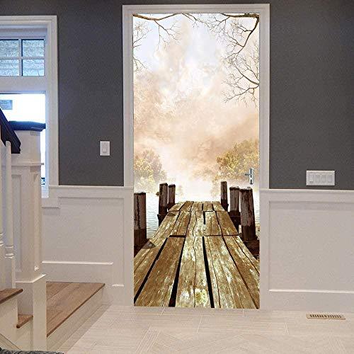 KEXIU 3D Muelle junto al lago PVC fotografía adhesivo vinilo puerta pegatina cocina baño decoración mural 77x200cm