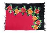Ciffre Sarong Pareo Wickelrock Strandtuch Tuch Schal Wickelkleid Strandkleid Blume Hawaii + Schnalle