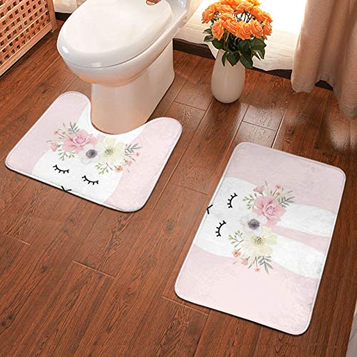 John J Littlejohn Non Slip Rabbit With A Wreath Bathroom Antiskid Pad Bathmat Waterproof Bath Carpet Floor Rug 2 Pieces Bath Mat + Contour