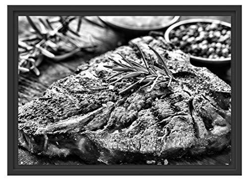 Picati lekker vlees met rozemarijn in schaduwvoegen fotolijst | kunstdruk op hoogwaardig galeriekarton | hoogwaardige afbeelding op canvas 55x40