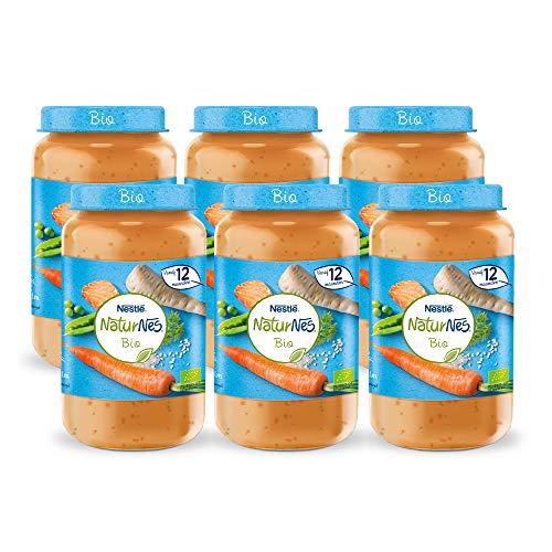 Naturnes Bio Pastinaak, Doperwtjes, Wortel, Rijst, Zalm 12+ maanden babymaaltijd -  6 potjes van 190 gram
