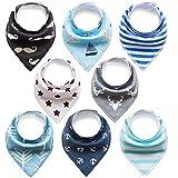 FUTURE FOUNDER 8er Baby Dreieckstuch Jungen Lätzchen blau halstuch Saugfähig Weich Baumwolle Halstücher Spucktuch Mit Druckknöpfen Multifunctional Baby