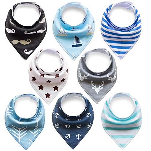 Future Founder 8-delige baby driehoekig doek meisjes jongens slabbetje blauw halsdoek absorberend zacht katoen halsdoeken spuugdoek met drukknopen multifunctionele baby Eén maat 8er Baby Dreieckstuch Jungen