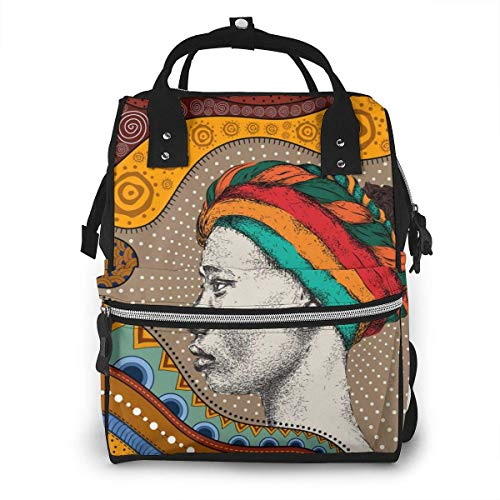 Diaper Bag,Versatile Stylish and Durable, Suitable for Mom and Dad,Girl in Turban with African Hand Draw Ethno Pattern (Katja Kassin Mommy Blows Best)